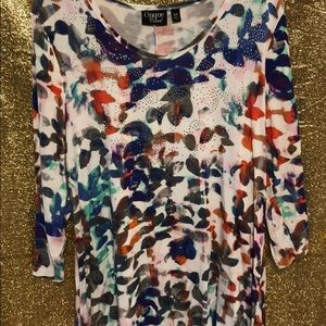 Embellished, water color floral tunic top